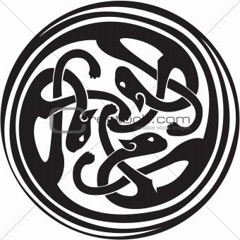 Celtic Irish zoomorphic interwoven design in black and white