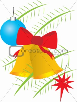 Christmas bells and balls on branches
