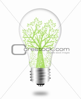 Eco Friendly Bulb with Green Tree and Leaves