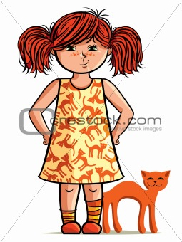 Small red-head girl with red cat