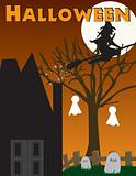 Halloween witch, haunted house scene