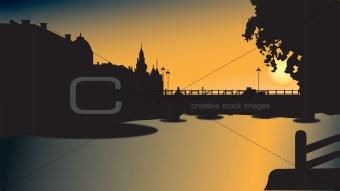 Bridge silhouette in sunset