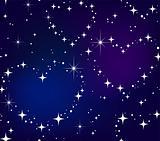 Seamless pattern Star heart in night sky