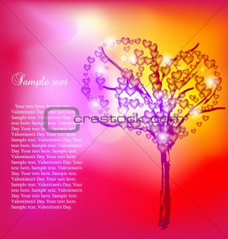Abstract tree with hearts. Vector
