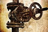 Old rusty sewer valve. Special grunge effect
