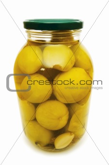 Pickled tomatoes isolated on the white background