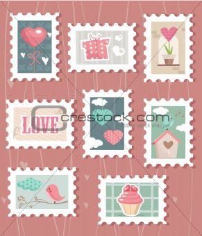 set of valentine`s day postage stamps