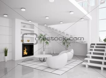 Modern white interior of living room 3d render