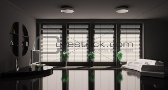 Black Living room interior 3d