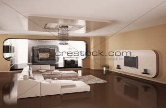 Interior of apartment 3d render