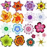 Collection decorative flowers