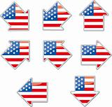 USA flag arrow placards