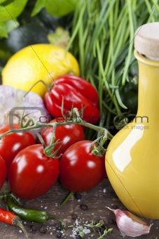 olive oil and fresh vegetables