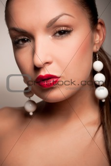 attractive girl with white earring