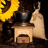 Stiill life with Antique coffee grinder and sunflower