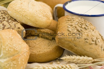 Fresh bread and milk