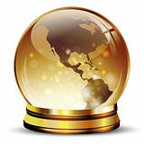 glossy earth globe in golden stand