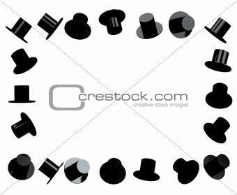 Black hat photo frame 3d rendered
