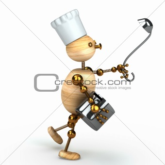 wood man cook 3d rendered