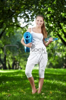 Attractive athletic girl in the park