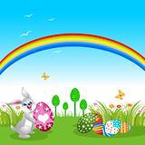 Easter Bunny holding Easter Eggs