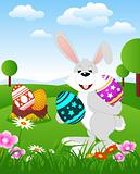 Easter Bunny holding Easter Eggs