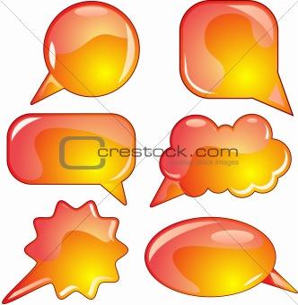 Flame speech bubble set