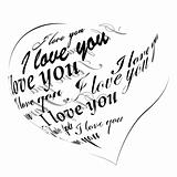 """Heart made of """"I love you"""" phrase"""