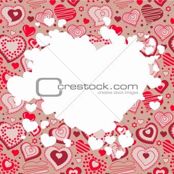Frame with many hearts