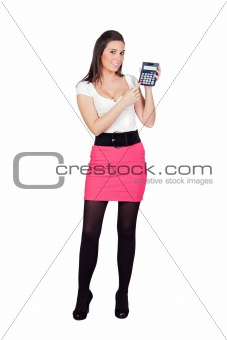 Attractive secretary with calculator