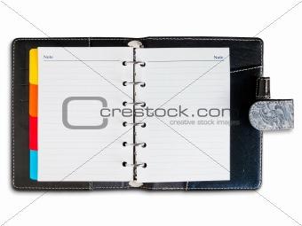 Old back leather cover binder notebook