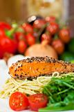 Peppered Salmon Fillet with Spaghetti Pasta Tomatoes and Green S