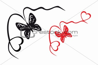 Abstract butterfly and hearts
