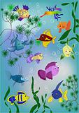 Pond fishes (vector)