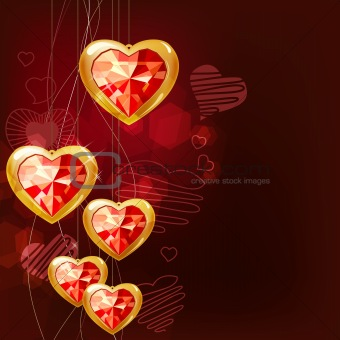 Ruby gold hearts