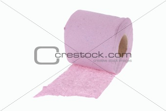 Roll of the pink toilet paper