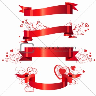 Four floral red banners