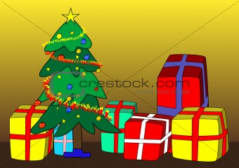 Christmas tree and presents - vector