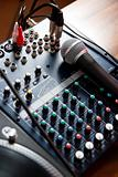 Vocal microphone on sound mixer
