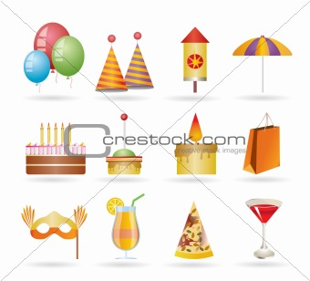 Party and holidays icons