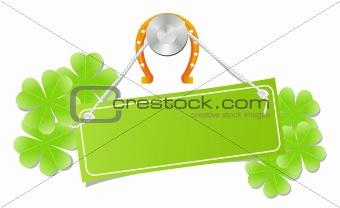 Green label with horseshoe and shamrock