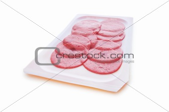 Arranged cuts of beef sausage