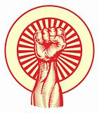 Soviet propaganda poster style fist