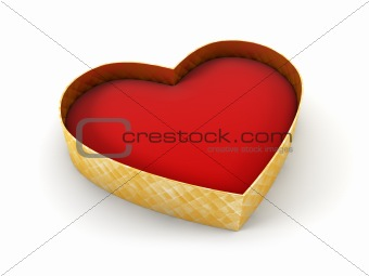 open valentine's gift box, isolated 3d rendering