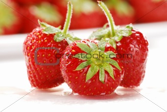 Composition with fresh strawberries