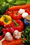 Composition with fresh vegetables