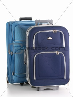 Travel suitcases isolated on white. Luggage