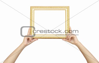 One wooden framework in hands isolated on white background