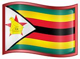 Zimbabwe Flag Icon, isolated on white background.