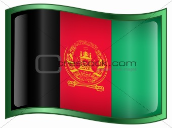 Afghanistan Flag icon, isolated on white background.